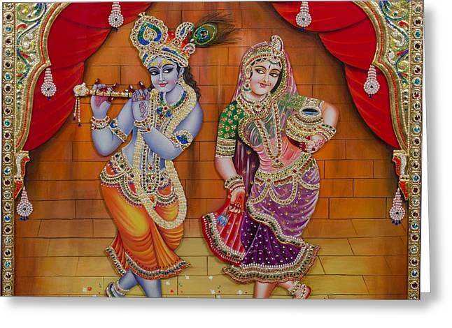 Tanjore Greeting Cards - Radha Krishna Dancing Greeting Card by Vijay krishna Maram