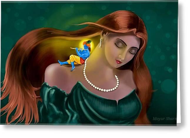 Mayur Sharma Greeting Cards - Radha Krishna Fusion  Greeting Card by Mayur Sharma