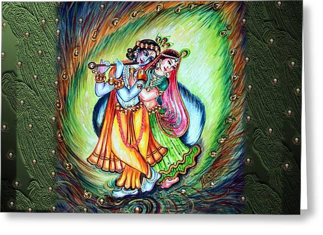 Hindu Goddess Greeting Cards - Radha Krishna Greeting Card by Harsh Malik