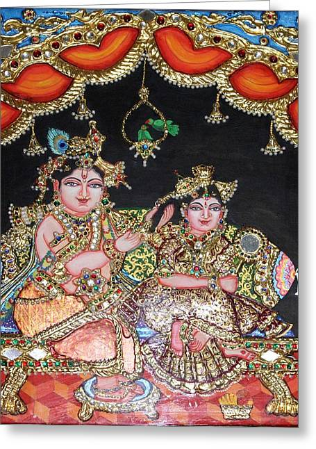Radha Krishna Greeting Card by Jayashree