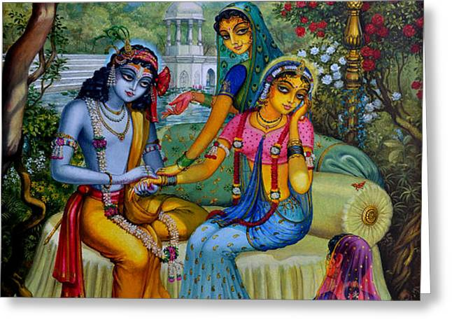 Radha Krishna man lila on Radha kunda Greeting Card by Vrindavan Das