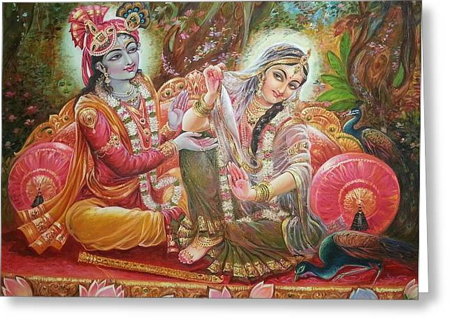 Tanjore Greeting Cards - Radha Krishna Greeting Card by Mayur Sharma