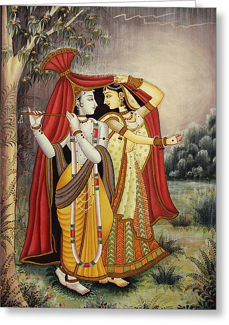 Hindu Goddess Greeting Cards - Radha Krishna Greeting Card by Dpa-bdr-28