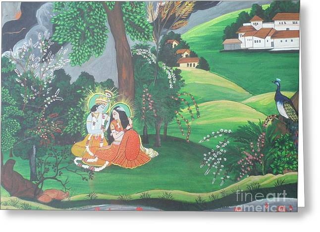 Hindu Goddess Greeting Cards - Radha krishna  Greeting Card by Artist Nandika  Dutt