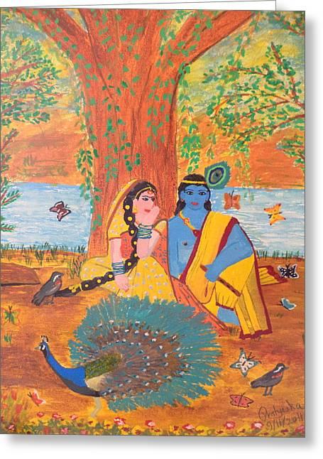 Hindu Goddess Paintings Greeting Cards - Radha-Krishna Greeting Card by Pratyasha Nithin