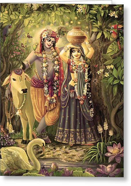 Varshana Greeting Cards - Radha-Krishna Radhakunda 2 Greeting Card by Lila Shravani