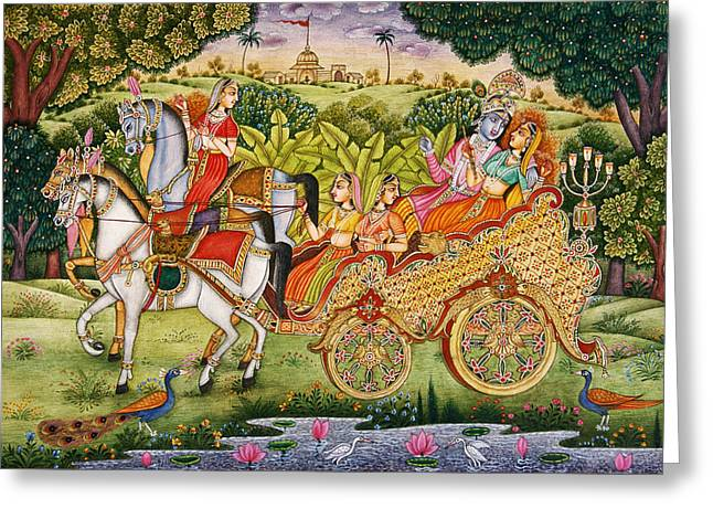 Hindu Goddess Greeting Cards - Radha Krishna riding chariot Greeting Card by Dpa-bdr-06