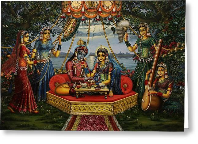 Krishna Greeting Cards - Radha Krishna taking meal   Greeting Card by Vrindavan Das