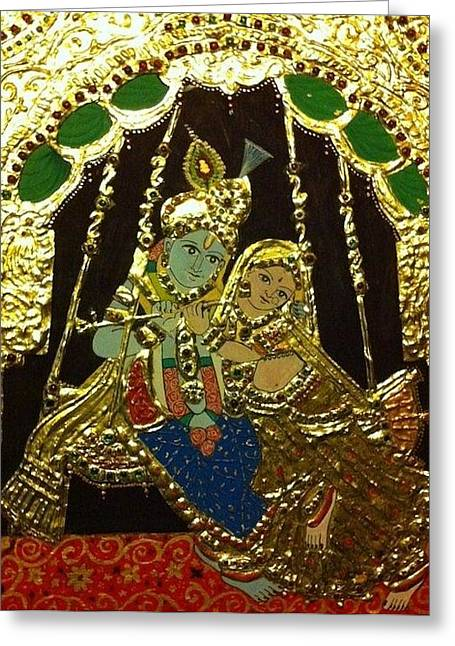 Tanjore Greeting Cards - Radha krishna tanjore Greeting Card by Madhuri Krishna
