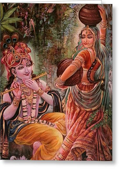 Krishna Greeting Cards - Radha Krishna Vrindawan Greeting Card by Mayur Sharma