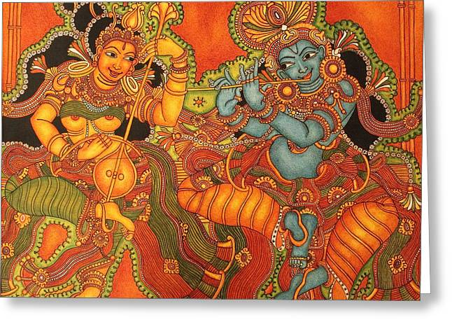 Kerala Murals Greeting Cards - Radha Madhav   Symbol of eternal love Greeting Card by Anu Edasseri