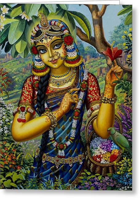 Krishna Greeting Cards - Radha on Govardhan hill Greeting Card by Vrindavan Das