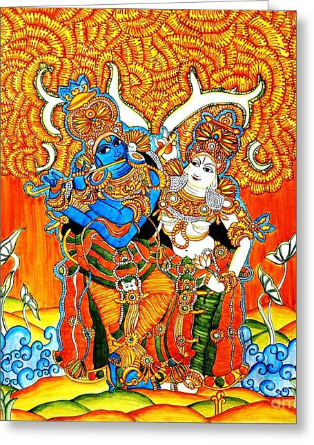 Kerala Murals Greeting Cards - Radha Greeting Card by Pg Reproductions