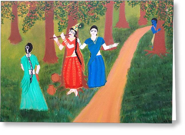 Hindu Goddess Paintings Greeting Cards - Radha Playing Krishna Greeting Card by Pratyasha Nithin