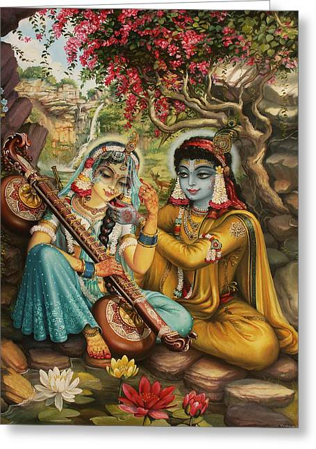 Hinduism Greeting Cards - Radha playing vina Greeting Card by Vrindavan Das