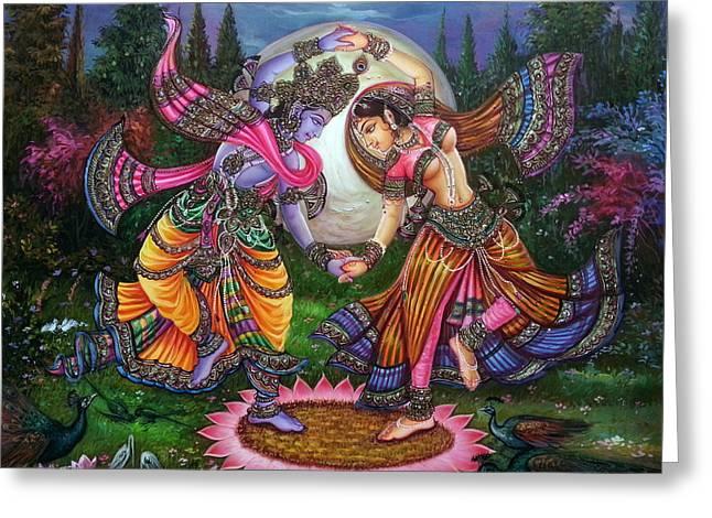Night Angel Greeting Cards - RadhaKrishna Raas lila Greeting Card by Mayur Sharma