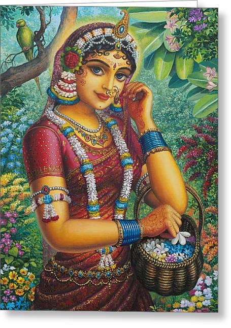 Gopi Greeting Cards - Radharani in garden Greeting Card by Vrindavan Das