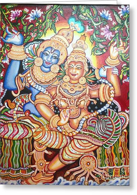 Kerala Murals Greeting Cards - Radheshyam Greeting Card by Jayashree