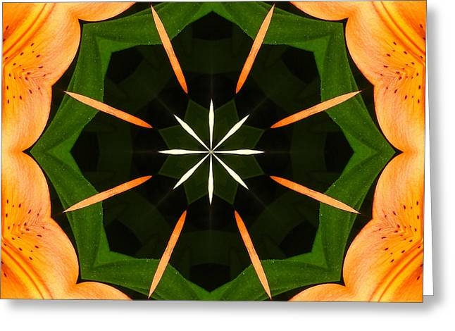 Green Barbara Griffin Art Greeting Cards - Radial Beauty - Flower - Kaleidoscope Greeting Card by Barbara Griffin