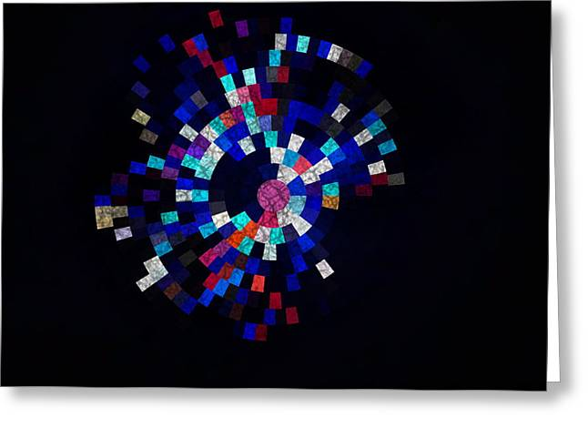 Todd Soderstrom Greeting Cards - Radial Mosaic in Red White and Blue Greeting Card by Todd Soderstrom