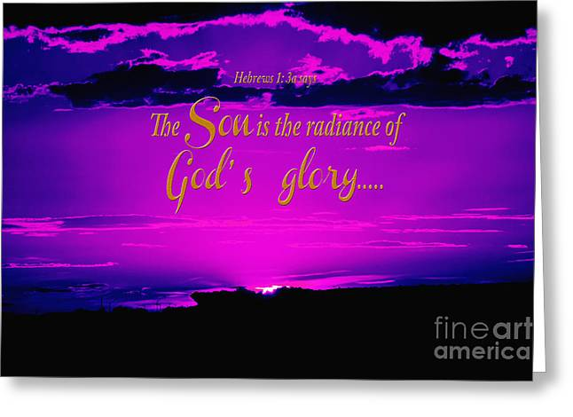 Sunset Framed Prints Digital Greeting Cards - Radiance of Glory Greeting Card by Beverly Guilliams