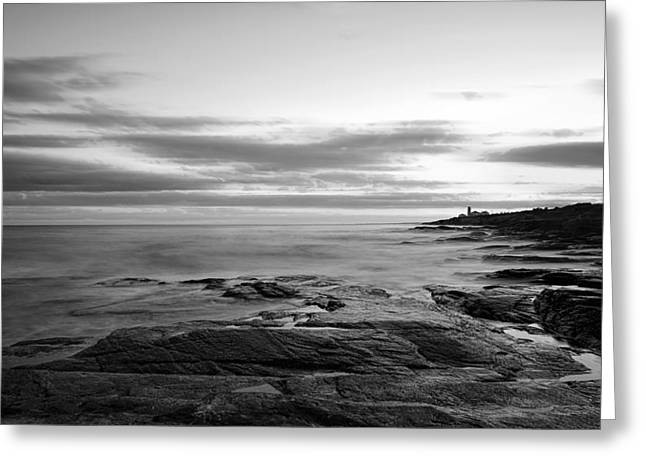 New England Ocean Greeting Cards - Radiance Of its Light Black and White Greeting Card by Lourry Legarde