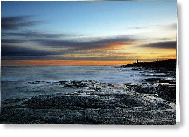 Lighthouse At Sunset Greeting Cards - Radiance Of Its Light Greeting Card by Lourry Legarde