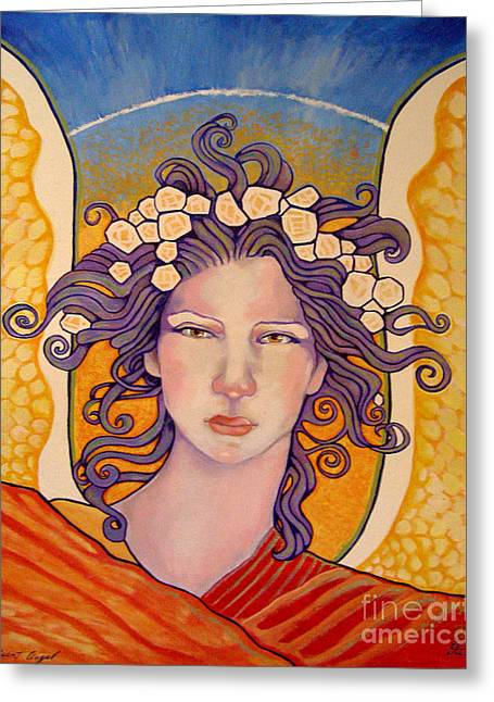 Seraphim Angel Greeting Cards - Radiant Angel Panel 2 Greeting Card by Dia T