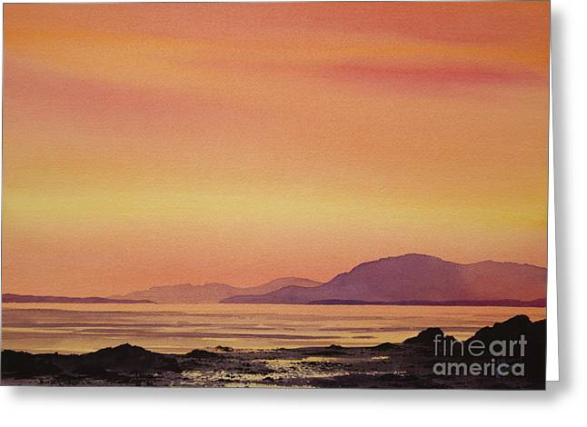 Sunset Greeting Cards Paintings Greeting Cards - Radiant Island Sunset Greeting Card by James Williamson