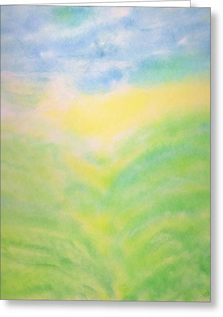 Mystical Landscape Pastels Greeting Cards - Radiant Nature Greeting Card by Joel Rudin