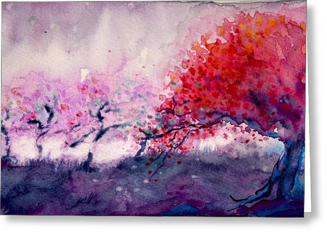 Bht Greeting Cards - Radiant Orchard Greeting Card by Beverley Harper Tinsley