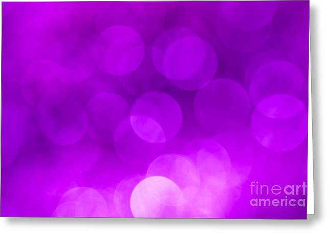 Backgrounds Abstract Greeting Cards - Radiant Orchid Bokeh Greeting Card by Jan Bickerton