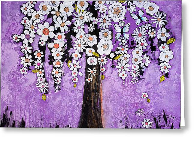Floral Artist Greeting Cards - Radiant Orchid Flower Tree Greeting Card by Blenda Studio