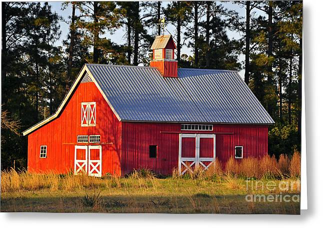 Red Barn Prints Greeting Cards - Radiant Red Barn Greeting Card by Al Powell Photography USA