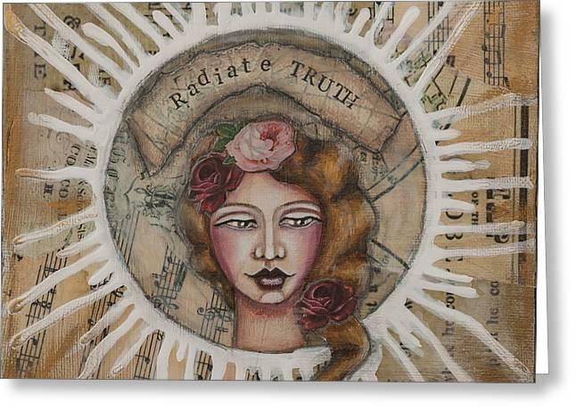 Radiate Truth Inspirational Folk Art Greeting Card by Stanka Vukelic