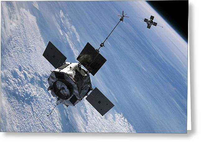 Radiation Greeting Cards - Radiation belt storm probes, artwork Greeting Card by Science Photo Library