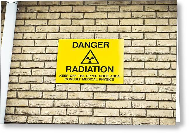 Treatment Greeting Cards - Radiation warning Greeting Card by Tom Gowanlock