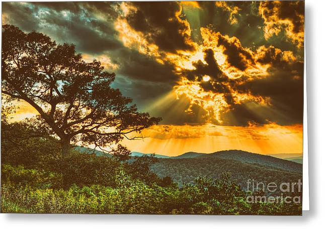 Photographers Mixed Media Greeting Cards - Radical Blue Ridge Sunset  II Greeting Card by Dan Carmichael