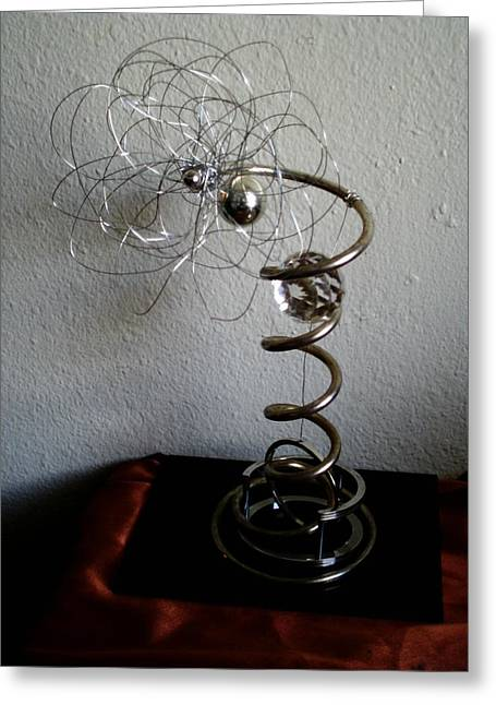 Strings Sculptures Greeting Cards - Radient Energy Generator Greeting Card by Kristin Silvaggio