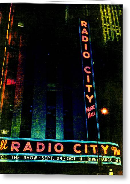 Theatre District Greeting Cards - Radio City Grunge Greeting Card by Joann Vitali