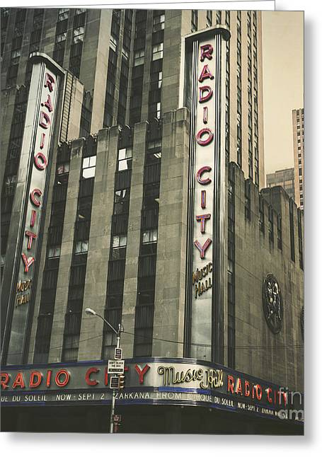 Red Photographs Greeting Cards - Radio City Hall Greeting Card by Andrew Paranavitana
