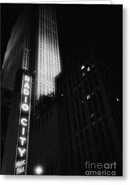 Theatre District Greeting Cards - Radio City Greeting Card by Joann Vitali