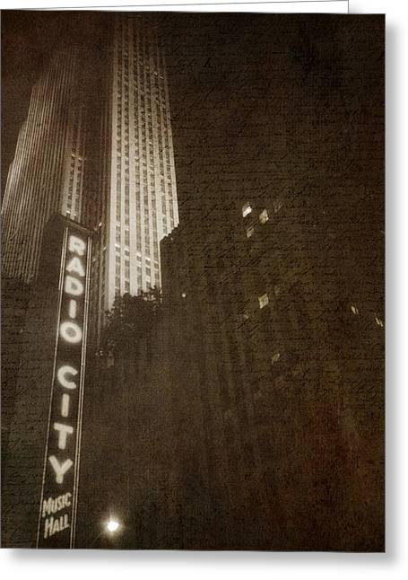 Theatre District Greeting Cards - Radio City Memories Greeting Card by Joann Vitali