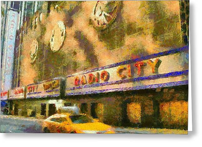 Live Music Mixed Media Greeting Cards - Radio City Music Hall And Taxis Greeting Card by Dan Sproul