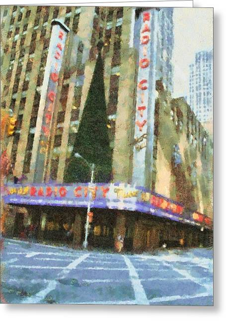 Center City Mixed Media Greeting Cards - Radio City Music Hall At Christmas Greeting Card by Dan Sproul