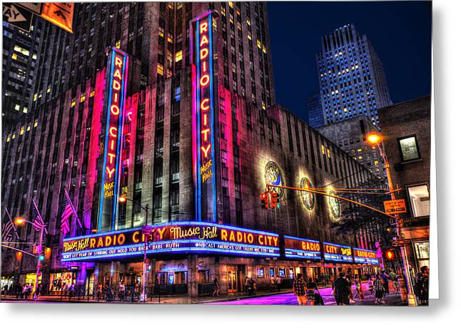 Iconic Radio Greeting Cards - Radio City Music Hall Landscape View Greeting Card by Randy Aveille