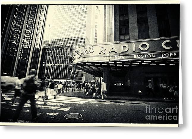 Filmnoir Greeting Cards - Radio City Music Hall Manhattan New York City Greeting Card by Sabine Jacobs