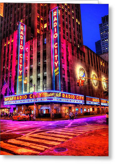 Iconic Radio Greeting Cards - Radio City Music Hall Greeting Card by Randy Aveille