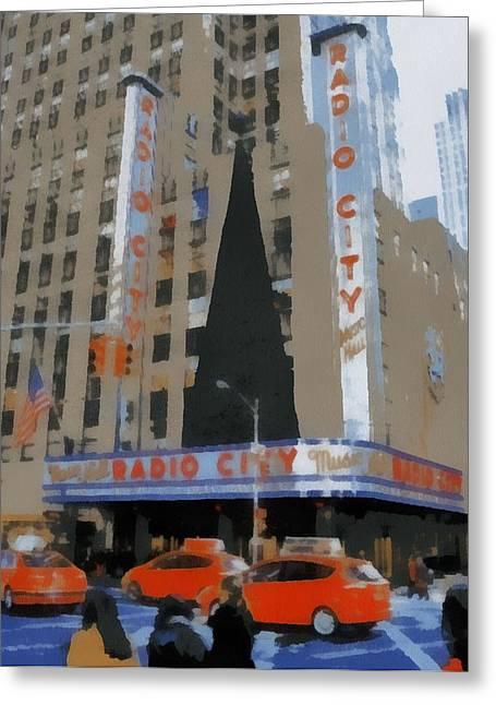 Warhol Paintings Greeting Cards - Radio City Pop Art Greeting Card by Dan Sproul