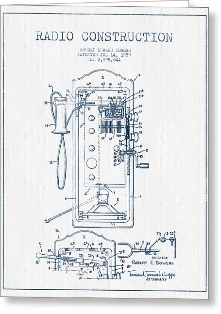 Vintage Radio Greeting Cards - Radio Constuction Patent Drawing From 1959 - Blue Ink Greeting Card by Aged Pixel